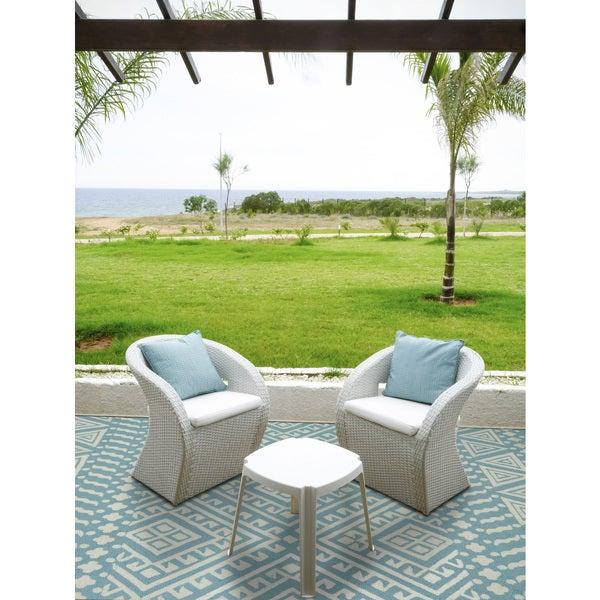 San Mateo Aqua Multi Purpose Indoor Outdoor Rug 5 X27