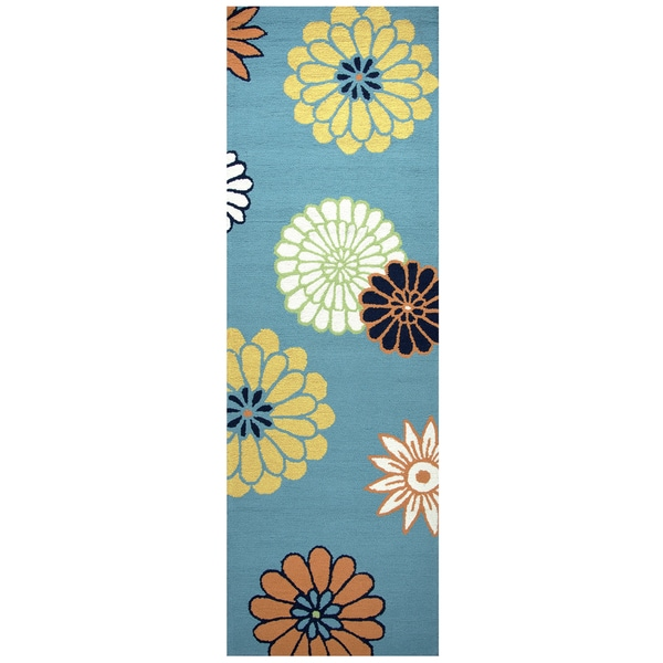 Shop Hand-Tufted Azzura Hill Teal Floral Runner Area Rug