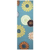 "Hand-Tufted Azzura Hill Teal Floral Runner Area Rug (2'6"" x 8')"
