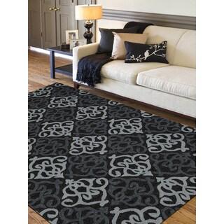 San Mateo Ebony Damask Pattern Multipurpose Indoor/Outdoor Rug (5' x 7'6)