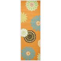 Hand-Tufted Azzura Hill Orange Floral Runner Area Rug - 2'6 x 8'