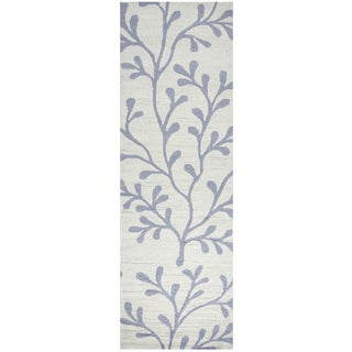 "Hand-Tufted Azzura Hill Ivory Botanical Runner Area Rug (2'6"" x 8')"