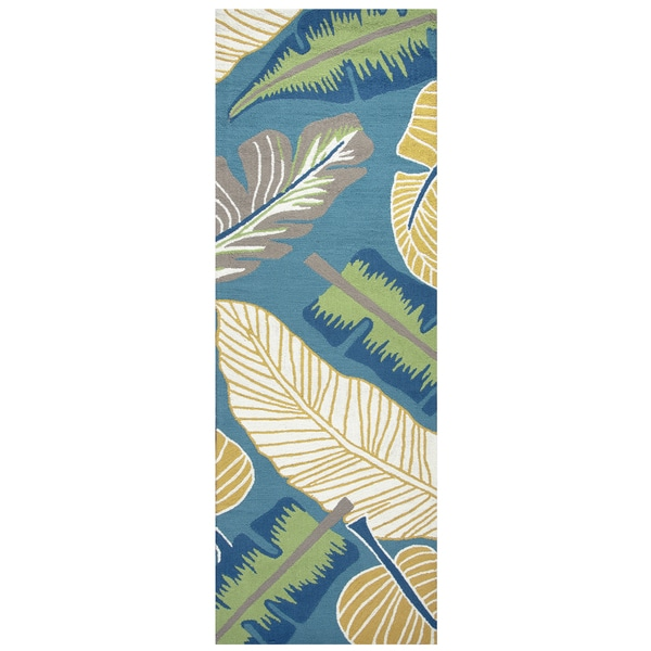 "Hand-Tufted Azzura Hill Teal Botanical Runner Area Rug  (2'6"" x 8')"