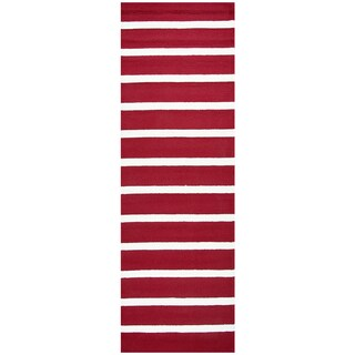 "Hand-Tufted Azzura Hill Red Strips Runner Area Rug (2'6"" x 8')"