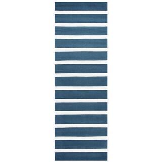 "Hand-Tufted Azzura Hill Marine Blue Stripe Runner Area Rug (2'6"" x 8')"