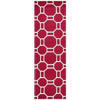 "Hand-Tufted Azzura Hill Red Geometric Runner Area Rug (2'6"" x 8')"