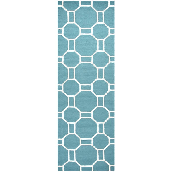 Shop Hand Tufted Azzura Hill Teal Geometric Runner Area