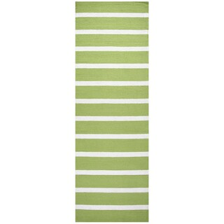 Hand-tufted Azzura Hill Lime Stripe Runner Rug (2'6 x 8')