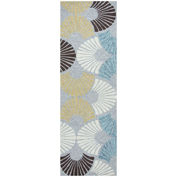 Hand-tufted Azzura Hill Grey Geometric Runner Rug (2'6 x 8')