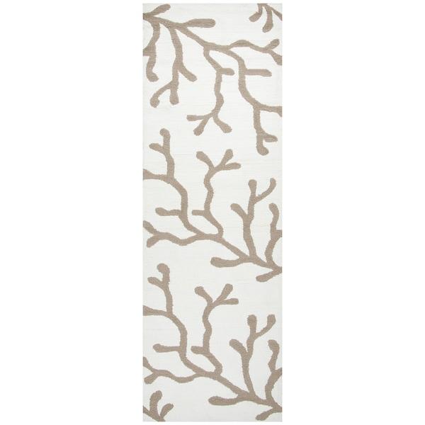 "Hand-Tufted Azzura Hill Khaki Floral Runner Area Rug (2'6"" x 8')"