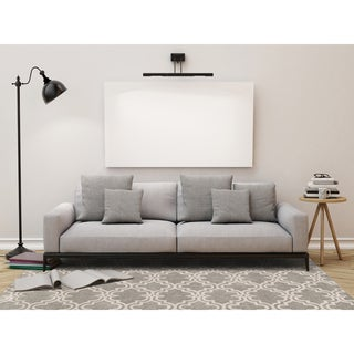 Modern Collection Platinum/Ivory Wool Hand-Tufted Area Rug (9'x12')