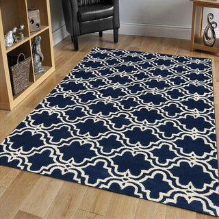 Modern Collection Navy/Ivory Hand-tufted Wool Area Rug (9' x 12')