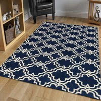 Modern Navy/ Ivory Hand-tufted Wool Area Rug (9' x 12') - 9' x 12'
