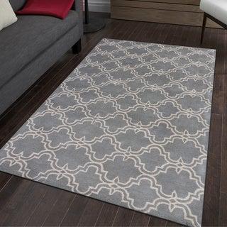 Dark Grey and Ivory Wool Hand-tufted Modern Area Rug (9' x 12') - 9' x 12'