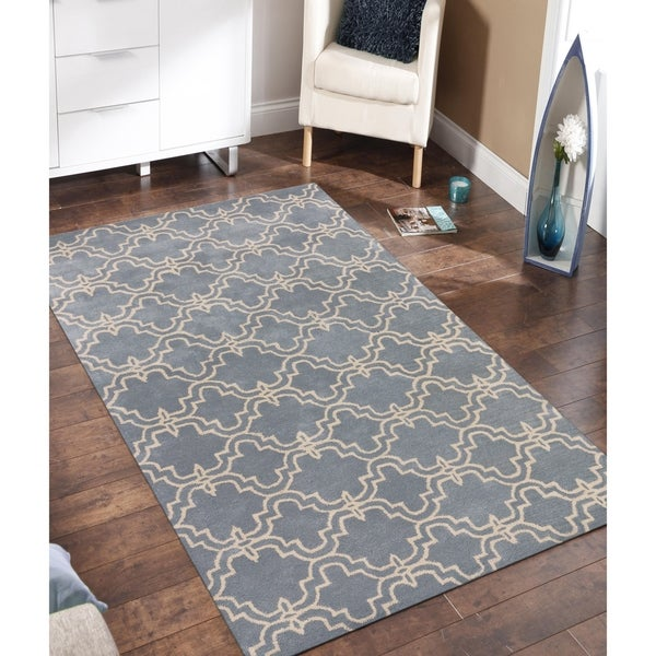 Stella Collection Hand Tufted Area Rug In Beige Light: Shop Modern Collection Light Blue/Ivory Wool Hand-tufted