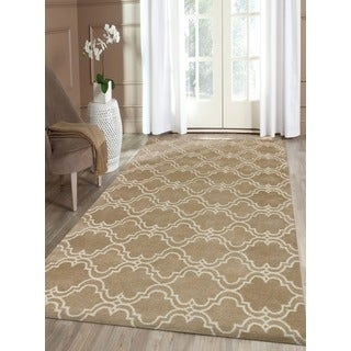 Mocha/Ivory Wool Hand-tufted Area Rug (9' x 12')