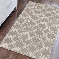 Hand-tufted Modern Platinum/Ivory Wool Area Rug (8' x 10') - 8' x 10'