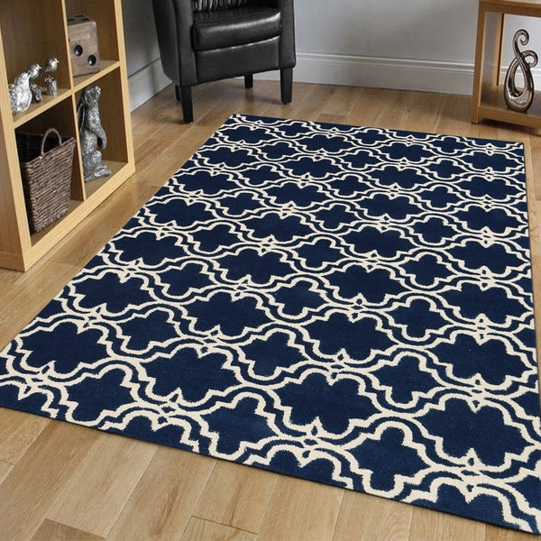 Shop Modern Hand Tufted Navy Ivory Wool Area Rug 8 X