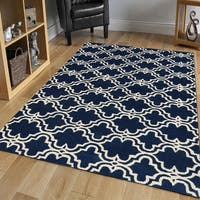 Modern Hand-tufted Navy/ Ivory Wool Area Rug - 8' x 10'