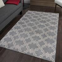 Dark Grey and Ivory Wool Hand-tufted Modern Area Rug - 8' x 10'