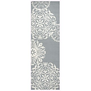 "Hand-Tufted Azzura Hill Gray Medallion Runner Area Rug (2'6"" x 8')"
