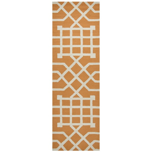 "Hand-Tufted Azzura Hill Orange Trellis/Geometric Runner Area Rug (2'6"" x 8') - 2'6 x 8'"