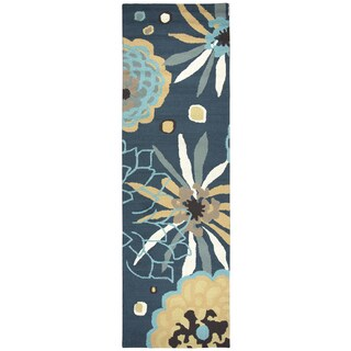 "Hand-Tufted Azzura Hill Navy Coastal Runner Area Rug (2'6"" x 8')"