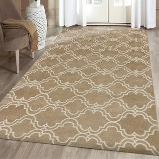 Modern Collection Mocha/Ivory Wool Hand-tufted Area Rug (8' x 10')