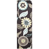 "Hand-Tufted Azzura Hill Espresso Floral Runner Area Rug (2'6"" x 8')"
