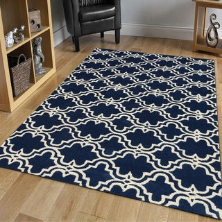 Modern Hand-tufted Navy/ Ivory Wool Area Rug (5' x 8')