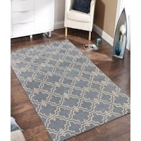Hand-tufted Modern Light Blue/Ivory Wool Area Rug - 5' x 8'