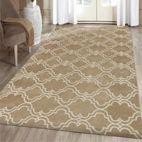 Mocha/ Ivory Wool Hand-tufted Area Rug - 5' x 8'