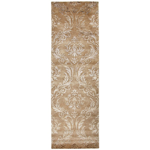 "Hand-knotted Avant-Garde rust Wool & Viscose ornamental Runner Area Rug (2'6"" x 8')"