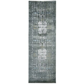 """Hand-knotted Avant-Garde Blue Wool & Viscose graphic Runner Area Rug (2'6"""" x 8')"""