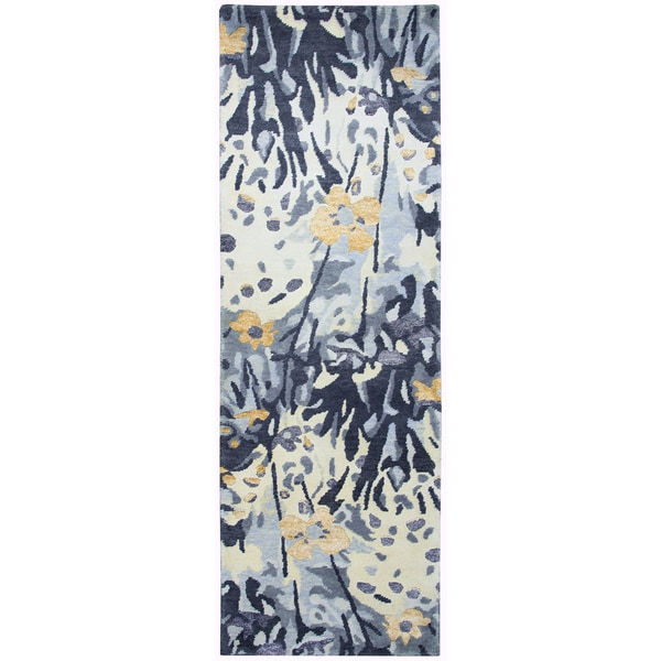 "Hand-knotted Avant-Garde Blue Wool & Viscose graphic Runner Area Rug (2'6"" x 8')"
