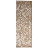 Hand-knotted Avant Garde Camel Wool and Viscose Ornamental Runner Rug (2'6 x 8')