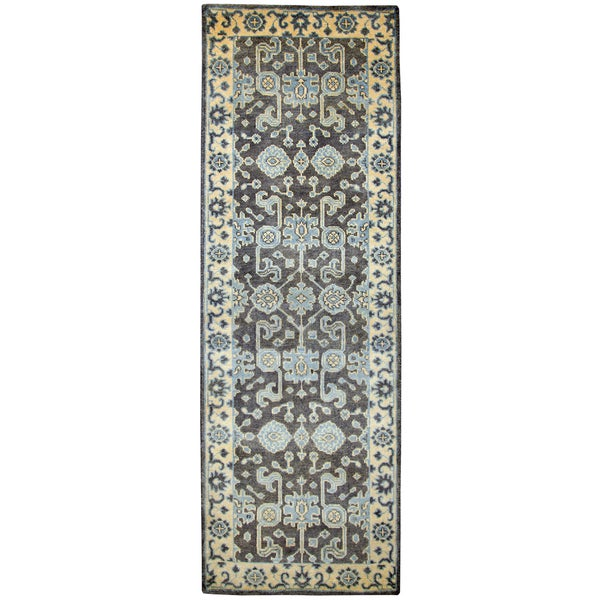 "Hand-knotted Aquarius Blue Wool border Runner Area Rug (2'6"" x 8')"