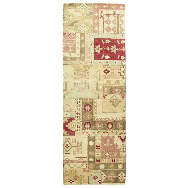 """Hand-knotted Aquarius Burgandy Wool patchwork Runner Area Rug (2'6"""" x 8')"""
