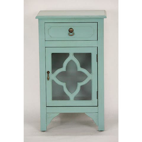 Standing Distressed Wood Cabinet with Clover Glass Window Inserts