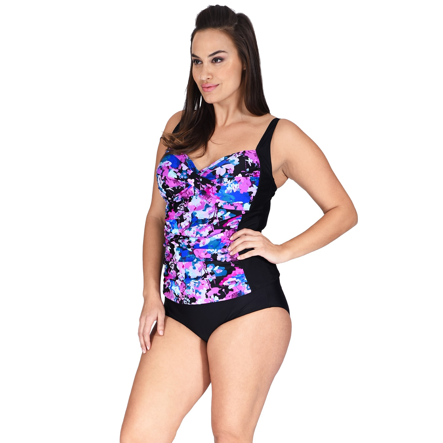 eea5ded7add5f Shop Ruched Twist Front Plus Size Women's Tankini Top by Mazu Swim - Free  Shipping On Orders Over $45 - Overstock - 14724860