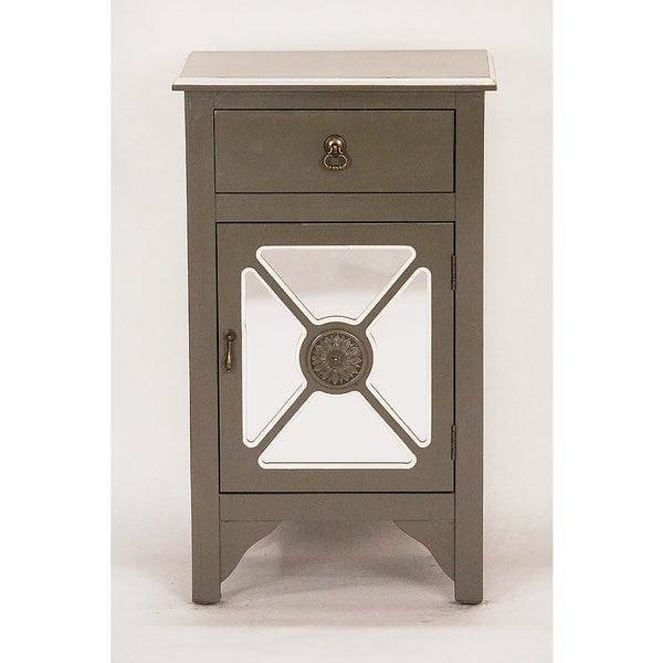 Heather Ann Creations Grey And White Wooden Accent Cabinet With 4 Medallion Mirrored Inserts