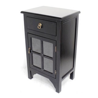 Black Wood with 4 Glass Inserts 1-drawer Cabinet