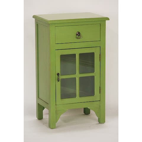 Single Drawer Green Wooden/Glass Cabinet