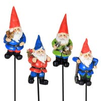 Exhart Resin Miniature Gnome Pot Stakes (Pack of 4)
