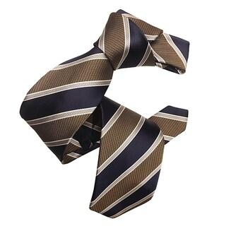 Dmitry Men's Brown/Navy Italian Silk Striped Tie