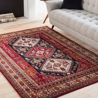 Ruby Red & Navy Vintage Tribal Area Rug - 9'3 x 12'6