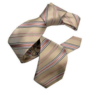 Dmitry Men's Tan and Pink Striped Silk Italian Tie