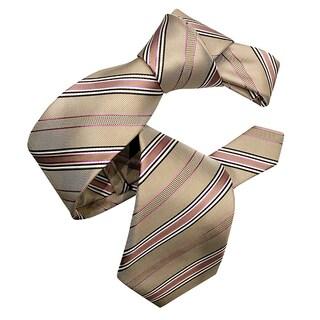 Dmitry Men's Tan and Pink Striped Silk Italian Tie