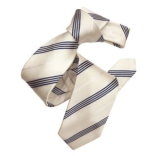 Dmitry Men's Ivory/Navy Italian Silk Striped Tie