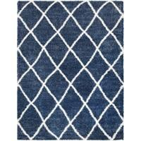 Aspen Blue & White Cozy Trellis Shag Area Rug - 7'10 x 10'3